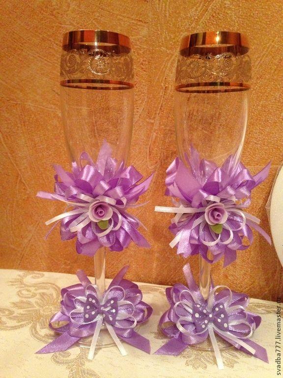 Купить Свадебные бокалы - фиолетовый, бакалы, свадьба, Праздник, стекло, атлас стрейч