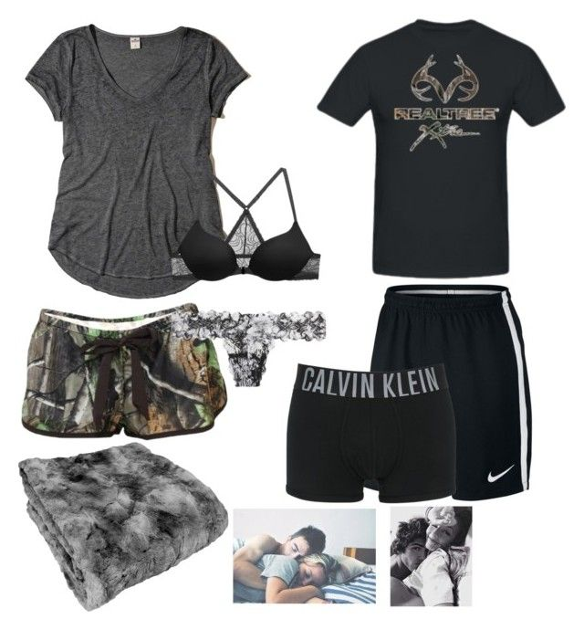 """""""Movie night"""" by mud-lovin-redneck ❤ liked on Polyvore featuring Realtree, Hollister Co., Victoria's Secret, Cosabella, NIKE and Calvin Klein Underwear"""