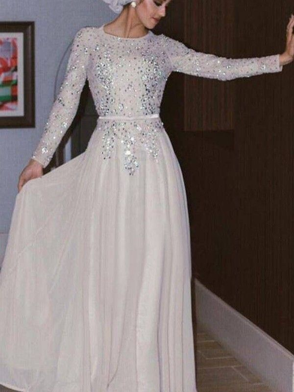 06d7dfdae27 A-Line Princess Long Sleeves Scoop Floor-Length Crystal Chiffon Muslim  Dresses