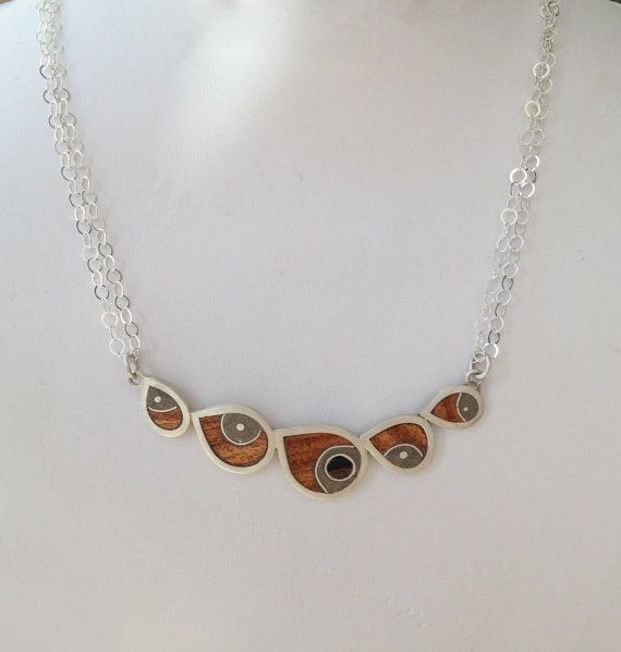 Sterling Silver, Concrete and Wood Fish Necklace