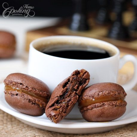 Chocolate Macarons with Salted Caramel Filling :: Home Cooking Adventure