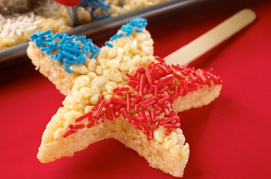 Fourth of July Rice Crispy pops for the kiddos.