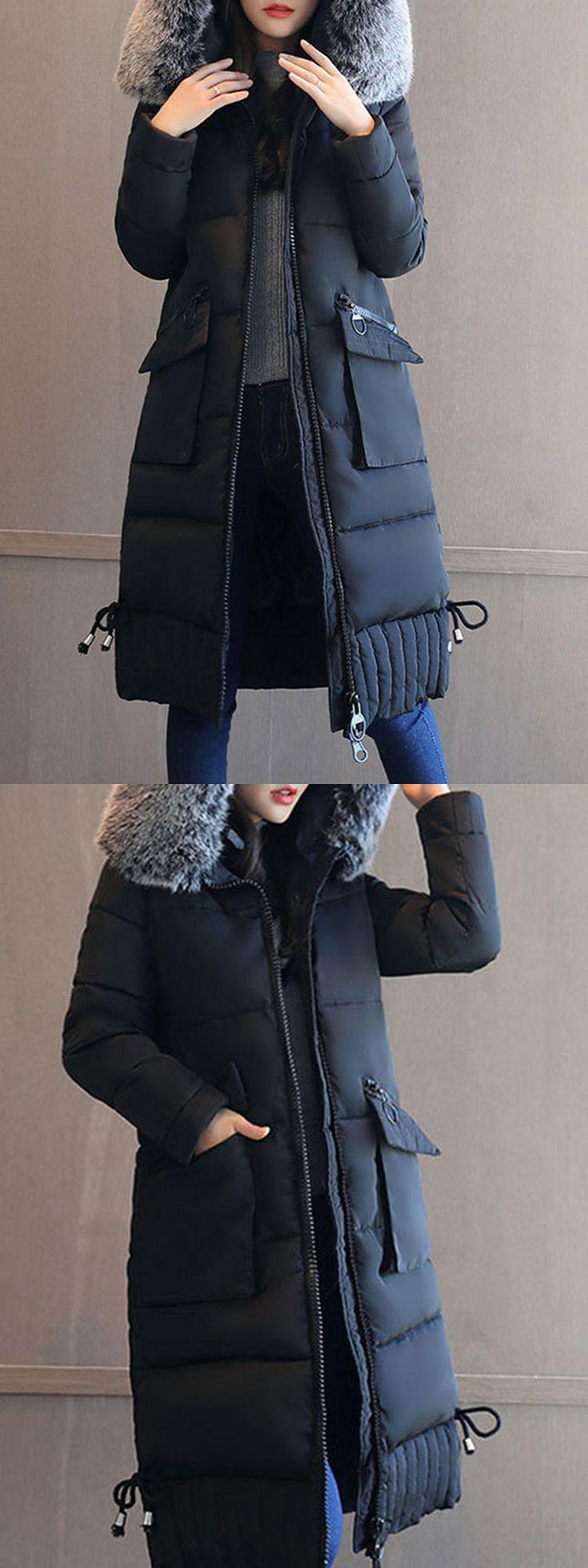 Elegant Pocket Long Sleeves Detachable Fur Collar Down Coats