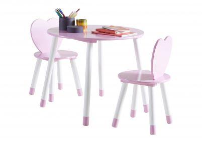 Tafel en stoeltjes met hartjes 'Pink Love'   Tafeltjes & stoelen