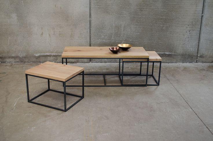 Muebles para el salón: Conjunto de mesas nido de madera y acero #livingroom