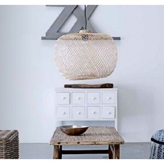 Bamboo lamp made of recycled fish nets from the southern parts of Thailand.