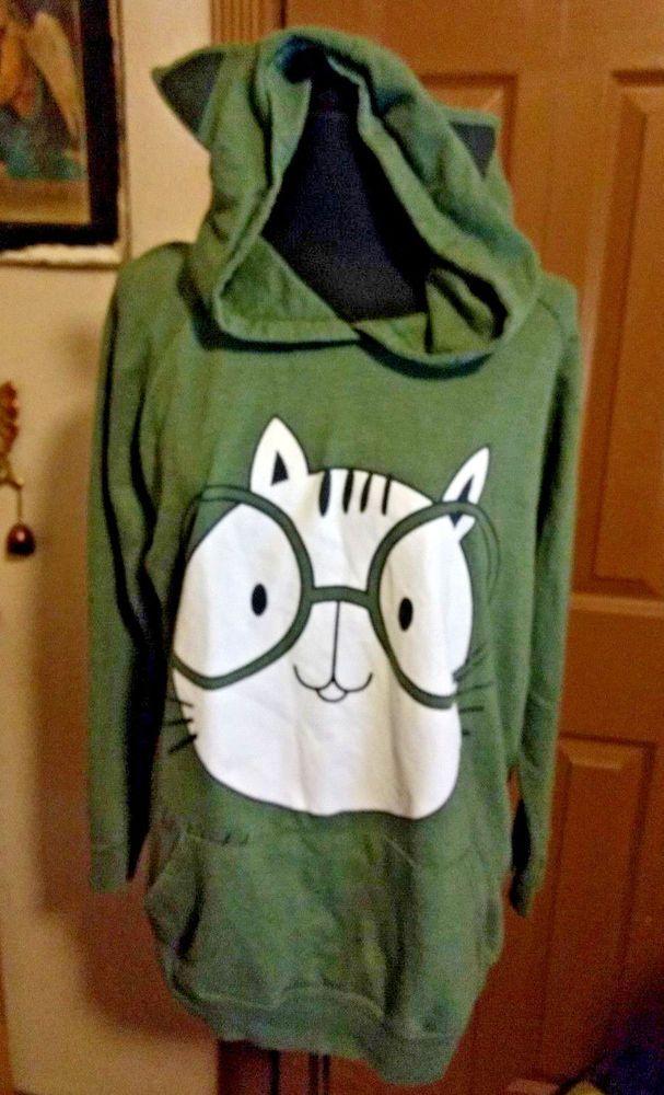 eccb3d38 Women's Juniors Cat ears Nerd Glasses Geek Green Hoodie size L large ...