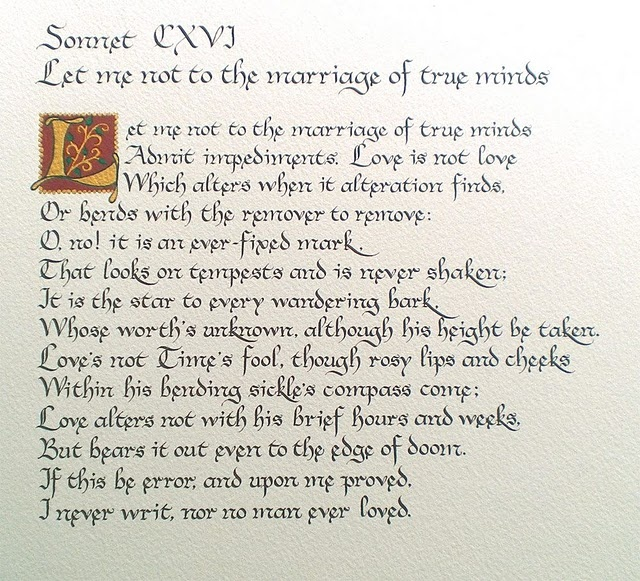 sonnet 116 by william shakespeare 3 essay Shakespeare's sonnet 116 is one of the ultimate definitions of true love,  116  has fourteen lines and a rhyme scheme ababcdcdefefgg - three.
