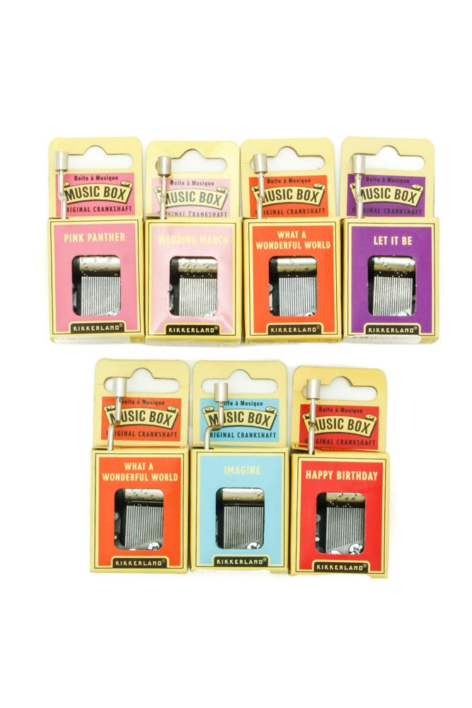 Hand crank music boxes with classic song selections. Try them on glass or wood surfaces for a variety of sounds!