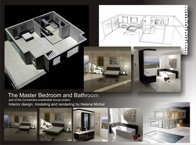 interior architecture by Helena Michel and Adam Michel: Presentation board, Bedroom and Bathroom