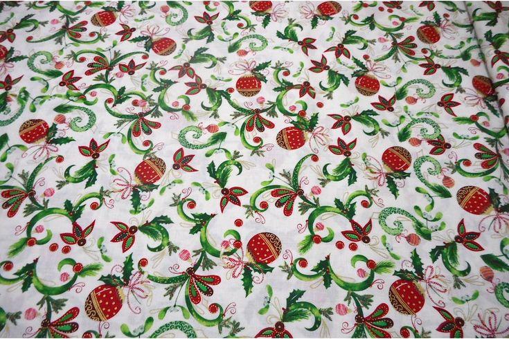 Tejido de algodón con estampado de motivos navideños. Ideal para crear diseños originales con la técnica del patchwork como colchas, bolsos, complementos de bebé... Fácil de lavar y planchar.#patchwork #algodón #navidad #blanco #bolas #confección #ropa #vestidos #camisetas #tela #telas #tejido #tejidos #textil #telasseñora #telasniños #comprar #online #comprartelas #compraronline