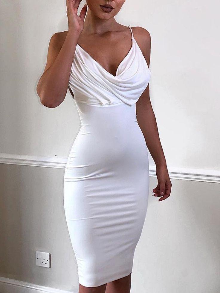 Spaghetti Strap Cowl Neck Bodycon Dress (S/M/L/XL) $24.99 2