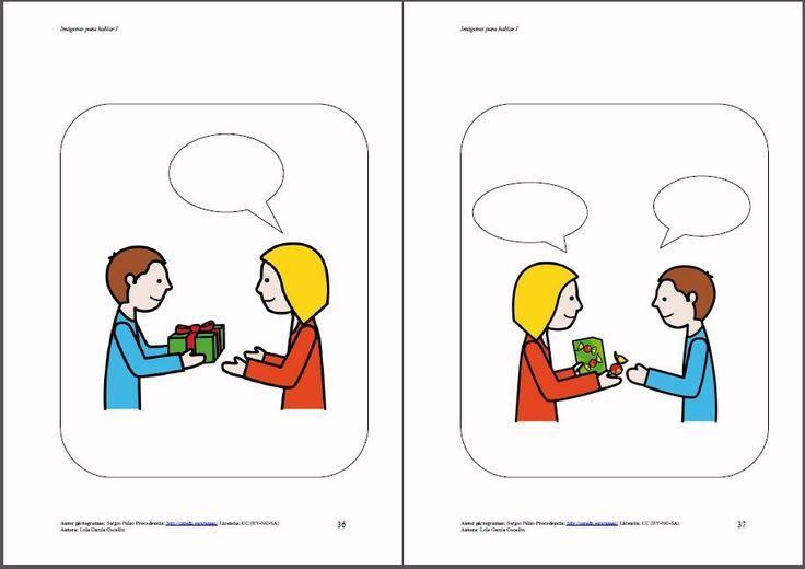 """Imágenes para hablar - Libro 1. basado en la teoría de la mente y partiendo de una imagen, se trata de completar los """"bocadillos"""", bien a nivel oral o escrito, relacionándolo con rutinas, experiencias, situaciones vividas…"""