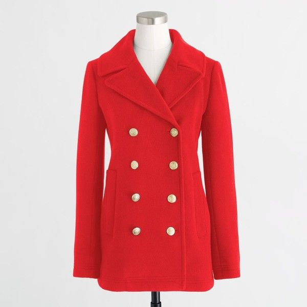 J.Crew Wool peacoat ($119) ❤ liked on Polyvore featuring outerwear, coats, j crew peacoat, pea jacket, red pea coat, j crew coats and lined pea coat