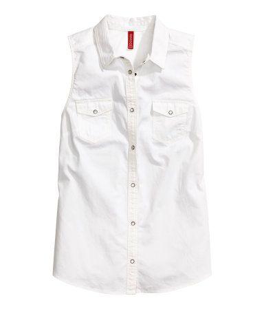 sleeveless snap-front shirt   H&M US