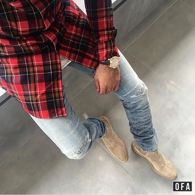 Outfit from above. Flannel, light wash denim, tan Chelseas...