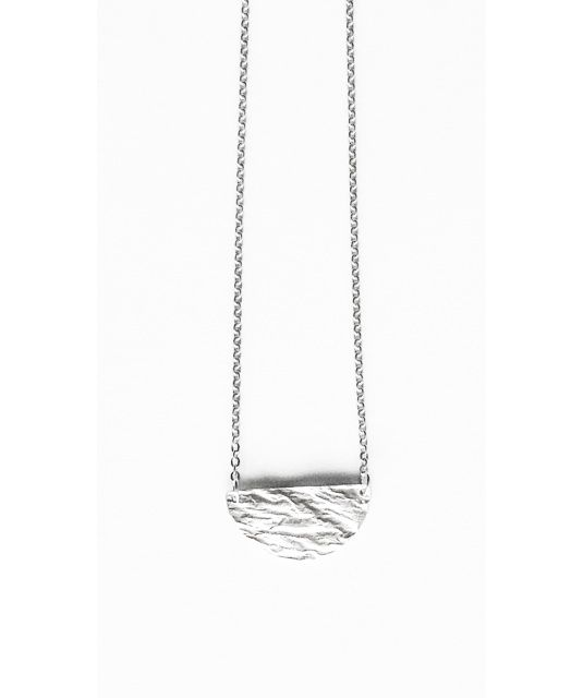 Half Full Moon Necklace - Reticulated and Sterling Silver