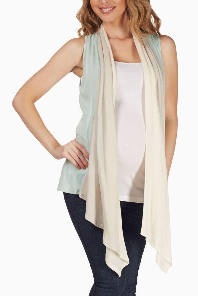 Mint-Green-Beige-Layered-Maternity-Vest #maternity #fashion