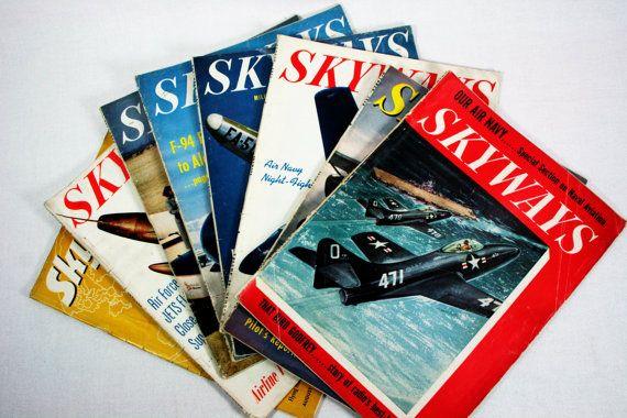 Vintage Skyways Flying Airplane Aviation by vintagefindsetcetera