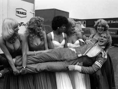 James Hunt After British Grand Prix Lifted by Women 1976