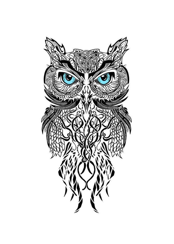 Disegno per tatuaggio Gufo Maori