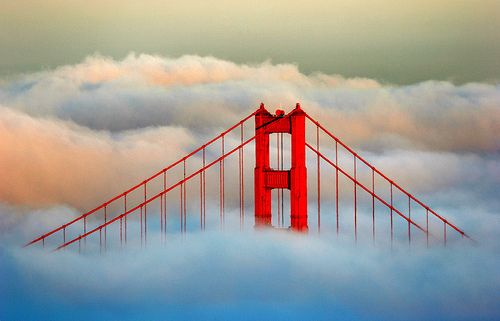 Sunset on the Golden Gate Bridge by Rob Kroenert, via Flickr: San Francisco California, Favorite Places, Golden Gate Bridge, Golden Gates Bridges, Sunsets, The Bays, Cloud, The Bridges, Photo
