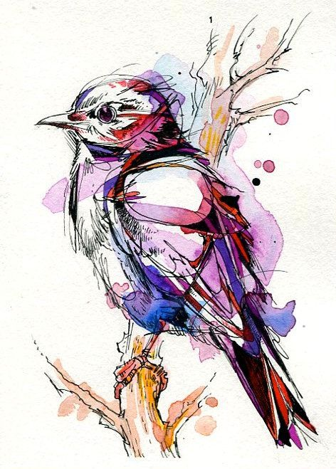 Little Bird 2 Painted with Indian Ink and Watercolour by Abby Diamond.