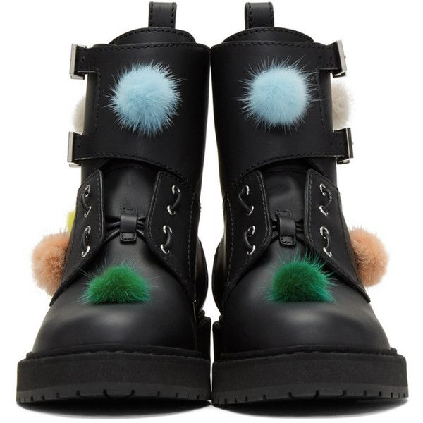 Fendi Black Pom Pom Combat Boots ($960) ❤ liked on Polyvore featuring shoes, boots, ankle booties, round toe booties, military boots, laced up boots, black army boots and black booties