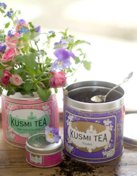 Great way to recycle Kusmi tea containers...flowers! For sale at Joule's Lab.