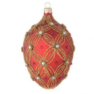 Palla uovo vetro rosso perle e decori oro 130 mm | vendita online su HOLYART
