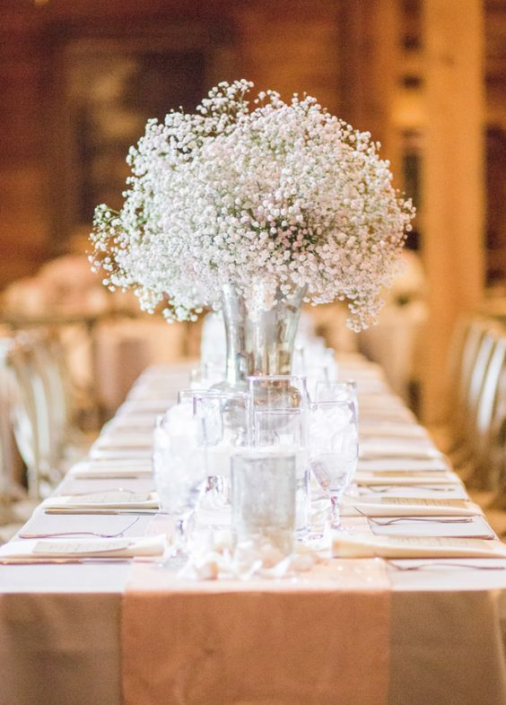Classic white wedding reception centerpiece; Featured Photographer: Jennifer Yarbro Photography
