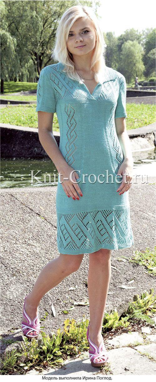 Связанное на спицах женское платье с врезными карманами 44-46 размера.