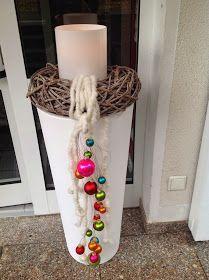 weihnachtliche Außendekoration für Blumentöpfe oder Laternen