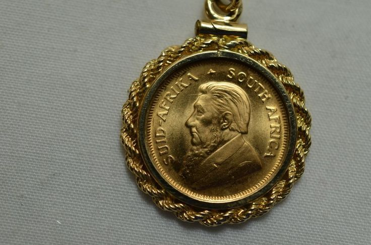 Krugerrand 1/10 Oz Fine Gold Coin in 14k Pendant with Necklace Chain 900-1