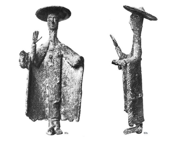 Sardinia, bronze sculpture representing a woman bidder -Priestess-