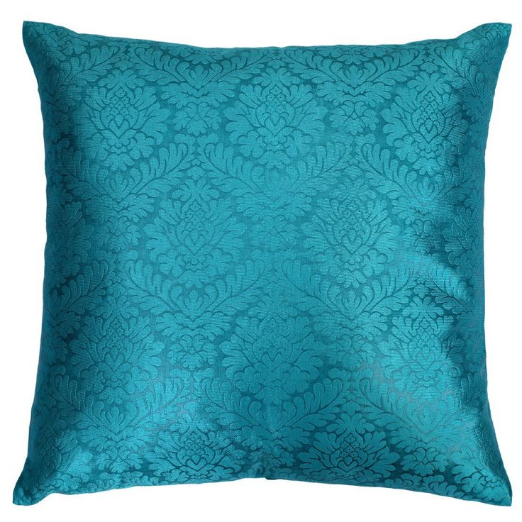 Beautiful teal pillow cover with damask pattern. The latest offering from us for your home decor. The fabric is OH! So Soft & Shiny. Definitely a attention grabber.