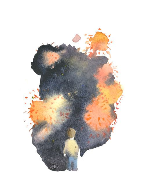 little boy watching the fireworks watercolor postcard