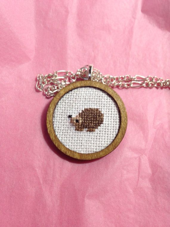 Hey, I found this really awesome Etsy listing at https://www.etsy.com/listing/214254469/hedgehog-cross-stitch-necklace-woodland