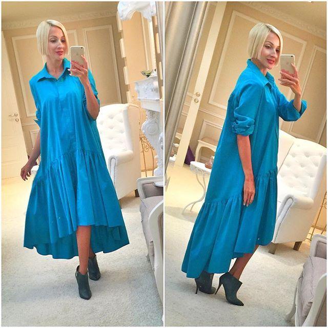 WEBSTA @ roksana_fashion - Цвет морской волны. Хлопок. Платье-рубашка с воланом.