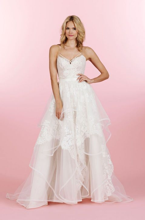 Hayley Paige strappy, tiered wedding dress