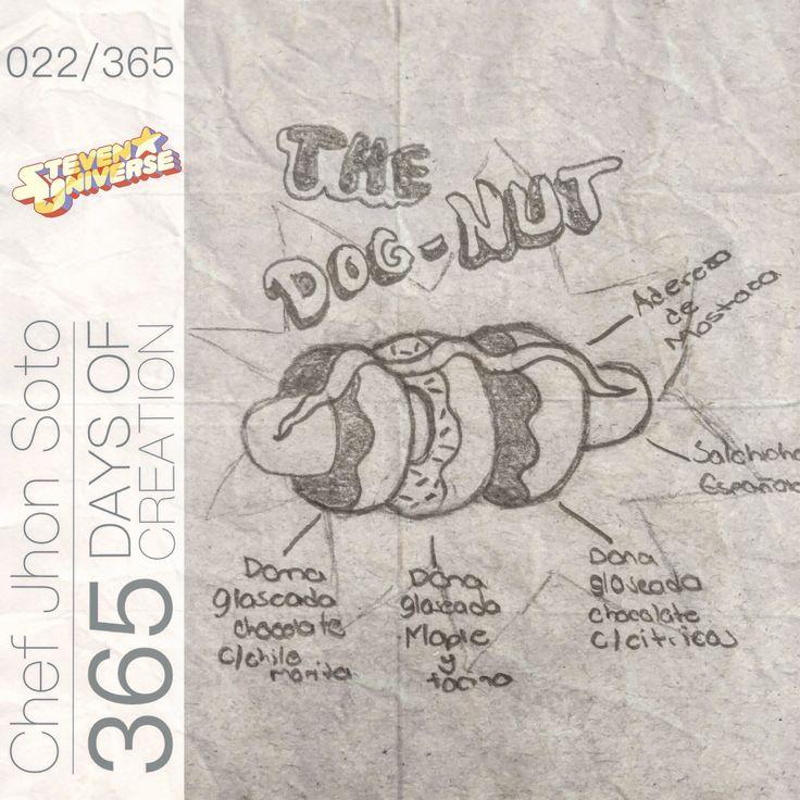 """[ 022/365 ] #creativethinkingchallenge  Dog-Nut  -Dona de Chocolate c/Chile Morita  -Dona de Maple c/Tocino  -Dona de Chocolate c/Cítricos  -Salchicha Española  -Aderezo de Mostaza y Miel    Inspirado en el cartel dentro de """"Big Donut"""" que aparece en el episodio piloto de Steven Universe, está mi versión es un juego entre lo dulce y lo salado, colocando unos toques diferentes a lo tradicional."""