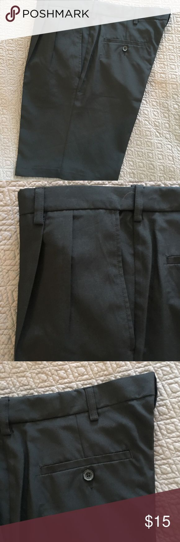 Brand New Men's Dress Shorts New but washed men's shorts. I washed them because they got a little dirty when we moved. Otherwise they are brand new/never worn. Pleated with adjusted waist shorts Haggar Shorts