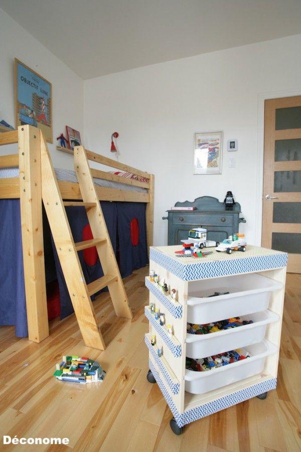 Meuble IKEA transformé en joli rangement mobile pour les LEGO  http://www.homelisty.com/rangement-lego/