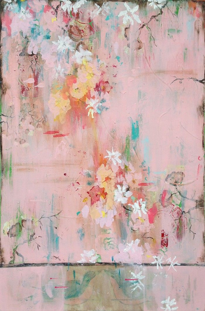 Kathe Fraga Art, www.kathefraga.com Inspired by the romance of vintage French wallpapers and Chinoiserie with a modern twist. 36x24 on frescoed panel.
