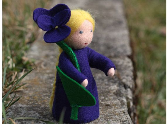 Violet  Flower Fairy  Waldorf doll  Nature table by ElodeaToys