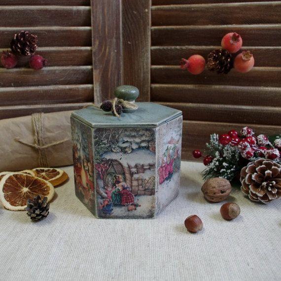 Wooden box. Decoupage box. Christmas box. by HelenBeautydecoupage