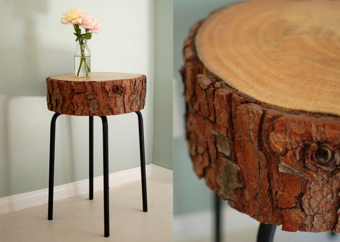 I love mixing rustic and industrial textures, and this log slice table is the best of both worlds.