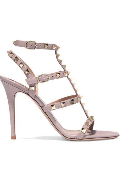 Valentino - Rockstud Embellished Leather Sandals - Blush - IT37.5