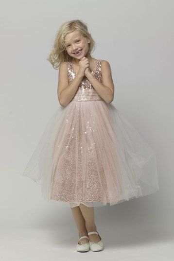 Seahorse 44379 Flower Girl Dress in Pink Sugar | Weddington Way - this is so fitting for a Rose Gold wedding!