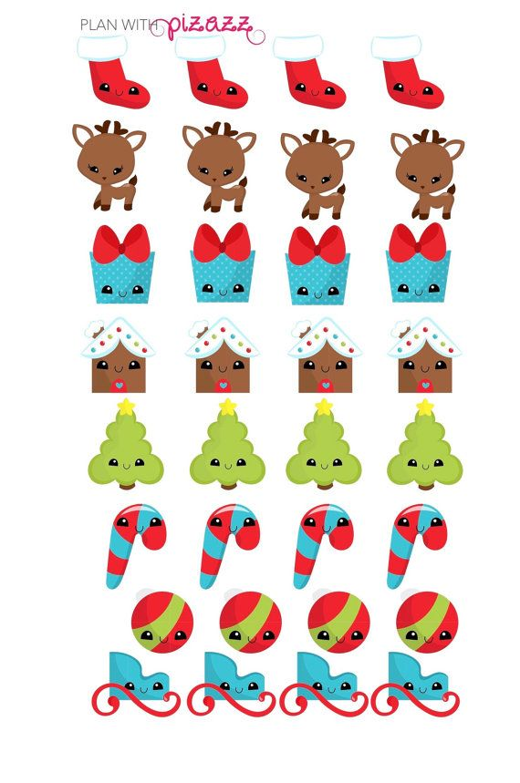 Kawaii Christmas themed Stickers Perfect for Erin Condren Planner, Filofax, Happy Planner, Plum Paper